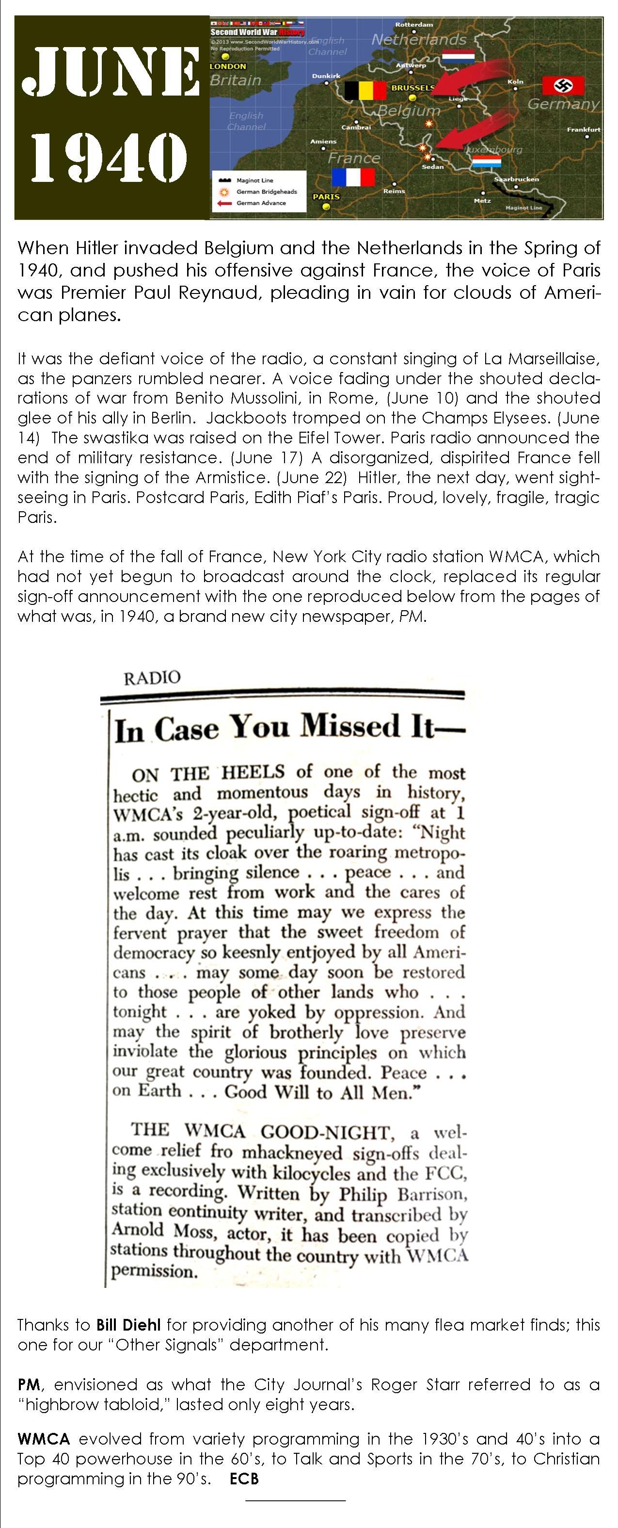 WMCA june 1940 sign off